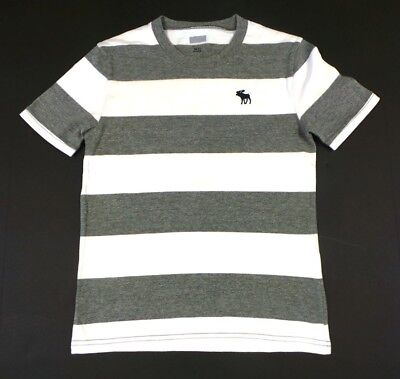 New Abercrombie Kids Boy's T Shirts Top Gray and White striped L (14) size