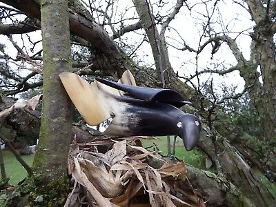 Cow horn bird. Vintage carved assembled sculpture Crow, Raven, rhinestone eyes