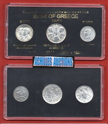 20 & 30 Drachmai 1960-1964 XF Greek Kings 1863-1973, 3 Silver Coins BANK GREECE