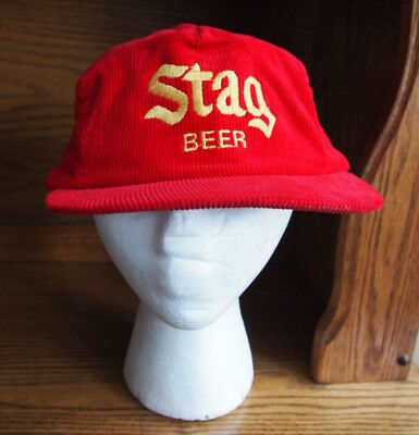 Vintage 70's 80's Stag Beer Hat Baseball Cap Red Corduroy Yellow Logo Very Rare