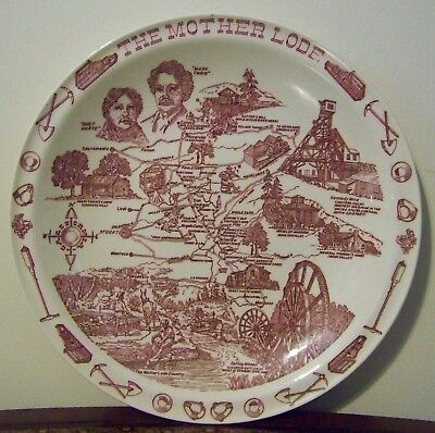 The Mother Lode Gold Rush Country Plate California Vernon Kilns VTG Mark Twain