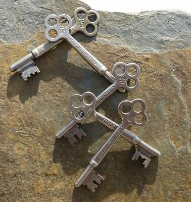 Five Assorted Antique Yale & Towne Antique Mortise Lock Skeleton Keys 3""