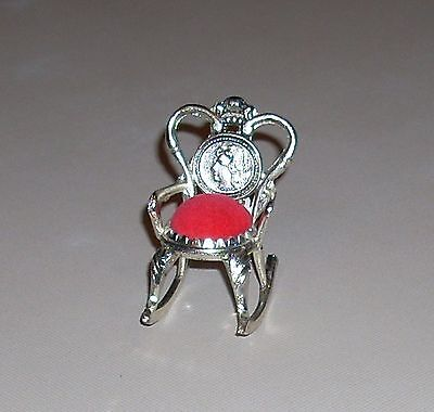 Vintage Silverplate Rocking Chair with Red Velvet Pin Cushion Coin Back w/ Label