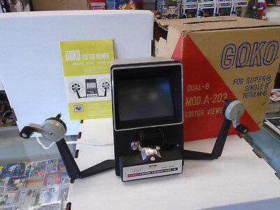 VIntage GOKO Super 8 Film Editor Viewer Model A-203 Dual-8 W/Box & Instructions