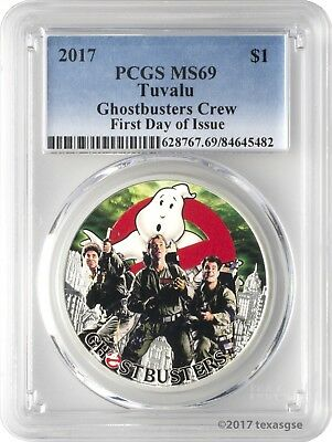 2017 $1 Tuvalu Ghostbusters Crew .9999 Silver Coin PCGS MS69 First Day of Issue