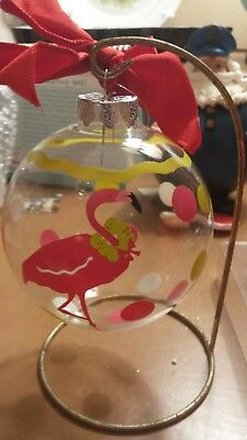 Hand Painted Christmas Flamingo Tropical Christmas Ornament.
