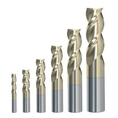 RIP Cutting Tools 6 Piece 3-Flute SE Carbide End Mill Set for Aluminum, 1/8-1/2