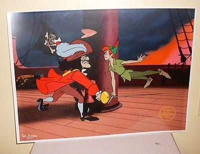 Animated Ltd Ed Serigraph Cel Disney Peter Pan Sericel with Background Cpt Hook