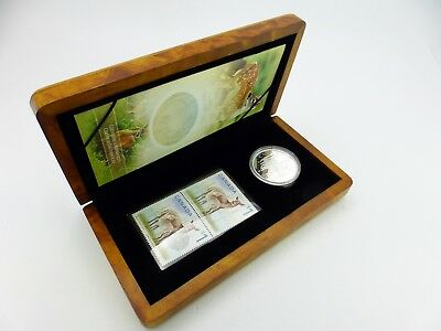 2005 $5 White-Tailed Deer and Fawn - Pure Silver Coin and Stamp Set