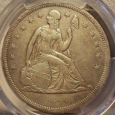 1860-O Seated Liberty Silver Dollar PCGS XF Details Rare Early Date Coin CLEANED