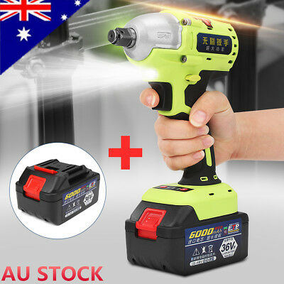 【AU】36V 1/2'' Brushless Cordless Impact Wrench + 2 Li-ion Battery Charger Tool