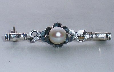 Beautiful Antique Art Nouveau Sterling Silver Pearl Pin Brooch 3.8 grams