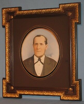 ANTIQUE OIL PORTRAIT of STATELY GENTLEMAN in WOOD & GESSO ANGLE EXTENSION FRAME