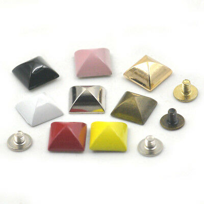"10mm 3/8"" Pyramid Square Rivet Stud Spot Spikes Screw Craft Handbag Shoes DIY"
