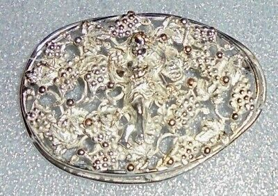 large old silver plated Bacchus wine God brooch pin