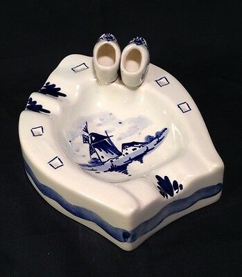 Delft Ashtray Windmill Wooden Shoes Horseshoe