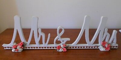 Mr & Mrs Wooden Wedding Table Sign Free Standing Embellished