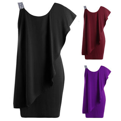 Plus Size Womens One Shoulder Sexy Summer Club Evening Party Mini Bodycon Dress