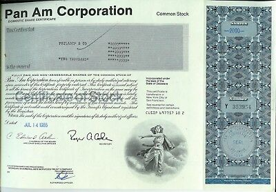 Pan American Airways SET OF 2 Stock Certificates 1986 200 Sh + 1988 2000 Share