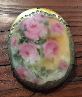 Antique Vintage Hand Painted Roses on Porcelain Brass Pin Brooch