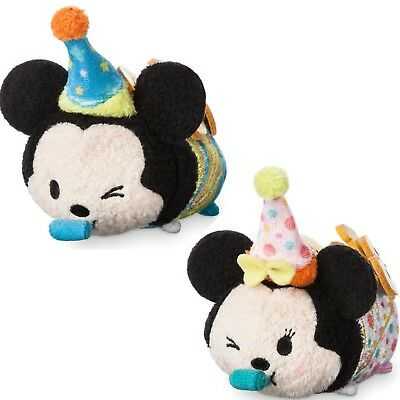 "Disney Store Birthday Minnie And Mickey 2018  Tsum Tsum Plush Mini 3 ½"" New Year"