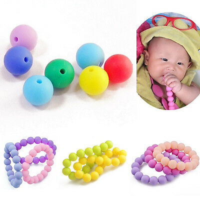 100 Pcs 10mm Candy FDA Food Grade Teething Baby Mom Round Silicone Loose Beads