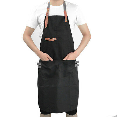 Canvas Chef Apron Cafe Kitchen Cooking Bib Dress Durable Unisex Working Clothing