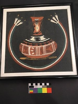 """Navajo Sand Painting Signed LENA TOLEDO Native American Indian 12"""" X 12"""""""