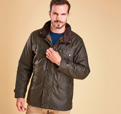 NEW Barbour Men's 'Sapper' Waterproof Waxed Cotton Jacket in Olive - Size M