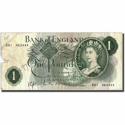 [#211464] Great Britain, 1 Pound, Undated (1960-78), KM:374a, AG(1-3)