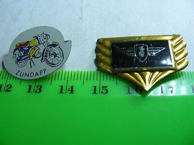 ZUNDAPP  motorcycle: Lot of 2 very old  pin badges..1 tinplate/1 aluminum.