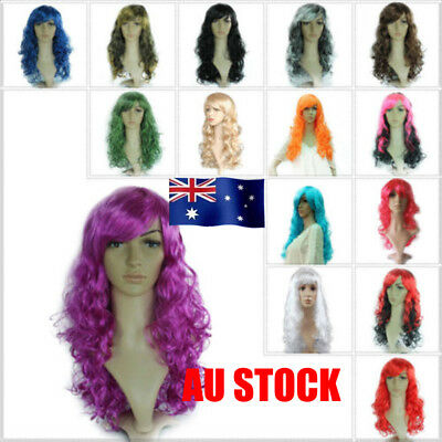 AU Womens Long Wavy Full Wigs Hair Synthetic Cosplay Party Fancy Dress Costume