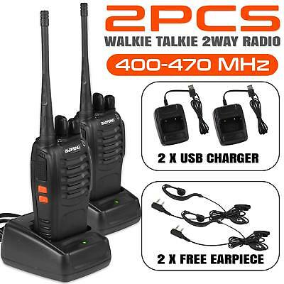 2x Baofeng Walkie Talkie Long Range 2 way Radio UHF 400-470MHZ 16CH Earpiece