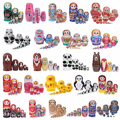 Basswood Girls Animal Floral Nesting Doll Handmade Matryoshka Baby Kids Toy Gift