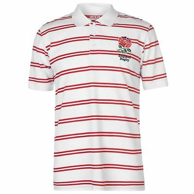 RFU England Rugby Stripe Polo Shirt Mens Gents Tee Top Short Sleeve Button