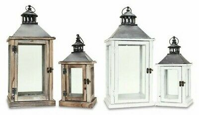2 Part Lanterns Set Wood White and Brown Metal Glass Shabby Chic Garden