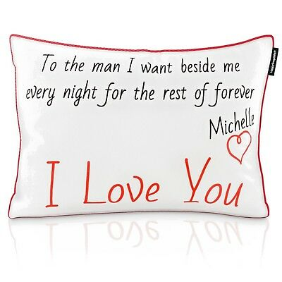 Personalised Cushion Pillow with Love Heart Theme Message by HappySnapGifts®