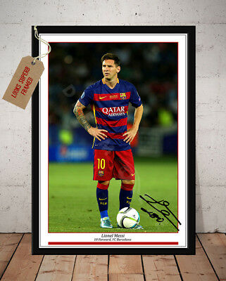 Lionel Messi Fc Barcelona Autographed Signed Football Photo Print