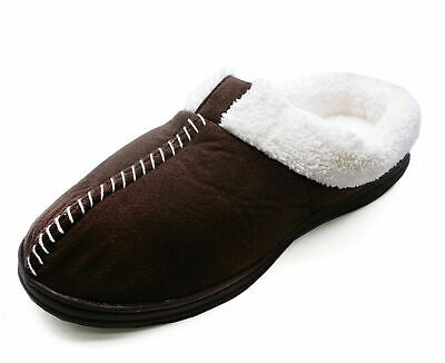 Ladies Brown Slip-On Fur-Lined Mules Warm Indoor Outdoor Slippers Shoes 3-6