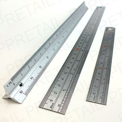 "Set Of 3: 6"", 12"" & SCALE RULER Measure Rule Building Plans Stainless Steel 30cm"