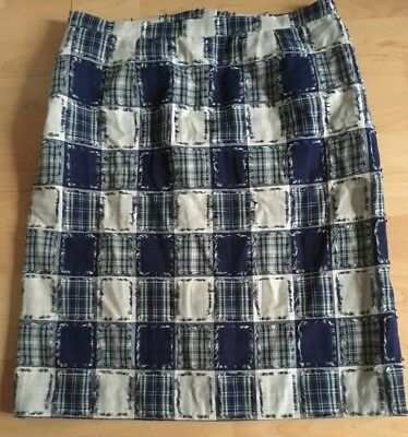 Vintage Handmade Blue And White Quilted Look Skirt Size 14