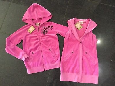 NWT Juicy Couture New & Gen. Girls Age 8 Pink Velour Waistcoat & Hoody With Logo