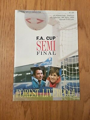 1987/88 FA Cup Semi Final Nottingham Forest v Liverpool Match Programme