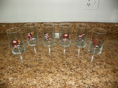 Vintage B.C. Ice Age Comic Strip 1981 Arby's Collector Series Glasses Set of 6