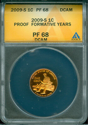 2009-S Proof Lincoln Cent Anacs Pf 68 Dcam Toned (1824115)