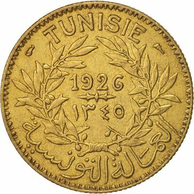 [#413619] Tunisia, Anonymous, 2 Francs, 1926, Paris, AU(50-53), Aluminum-Bronze