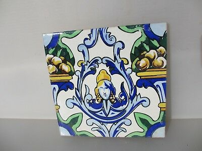 Large Vintage Spanish Ceramic Tile Old french Empire Fruit Gilt Leaf Goddess  8""