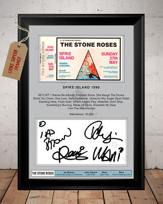 Ian Brown Stone Roses Spike Island 1990 Ticket Stub Autographed Signed Photo