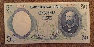 Chile Banknote. 50 Pesos. Uncirculated. Dated 1981. Pick 151b. Fifty Peso.