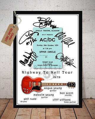 ACDC TICKET STUB HIGHWAY TO HELL TOUR 1979 Signed Photo Print